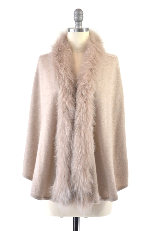 Cashmere Cape with Front Fox Fur Trim in Safari