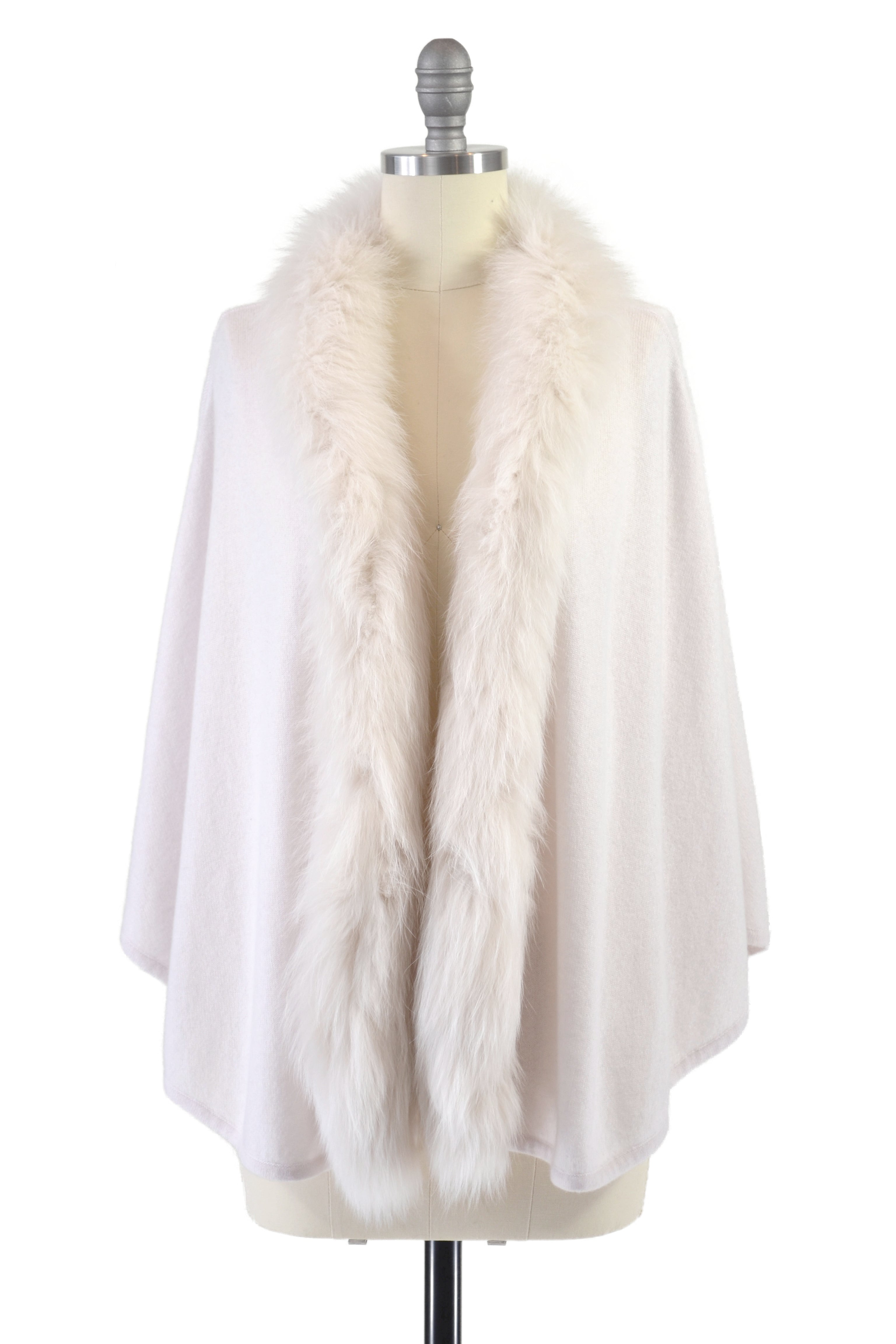 Cashmere Cape with Front Fox Fur Trim in Shell