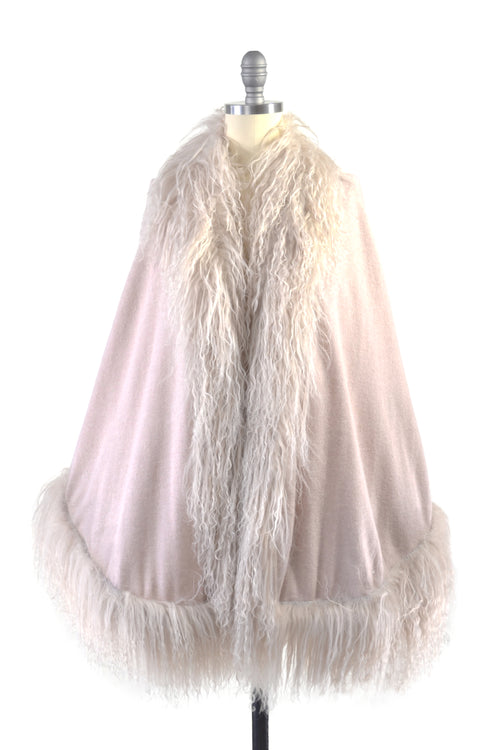 Cashmere Cape with Full Tibetan Sheep Fur Trim in Blush