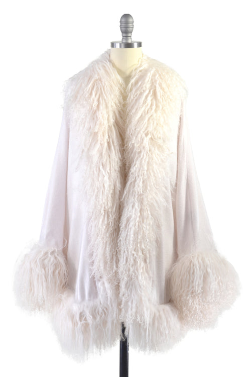 Cashmere Cape with Full Tibetan Sheep Fur Trim in Shell
