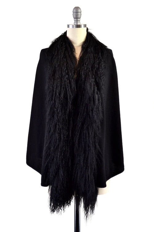 Cashmere Cape with Front Tibetan Sheep Fur Trim in Black