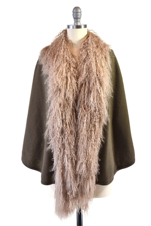 Cashmere Cape with Front Tibetan Sheep Fur Trim in Hunter Green