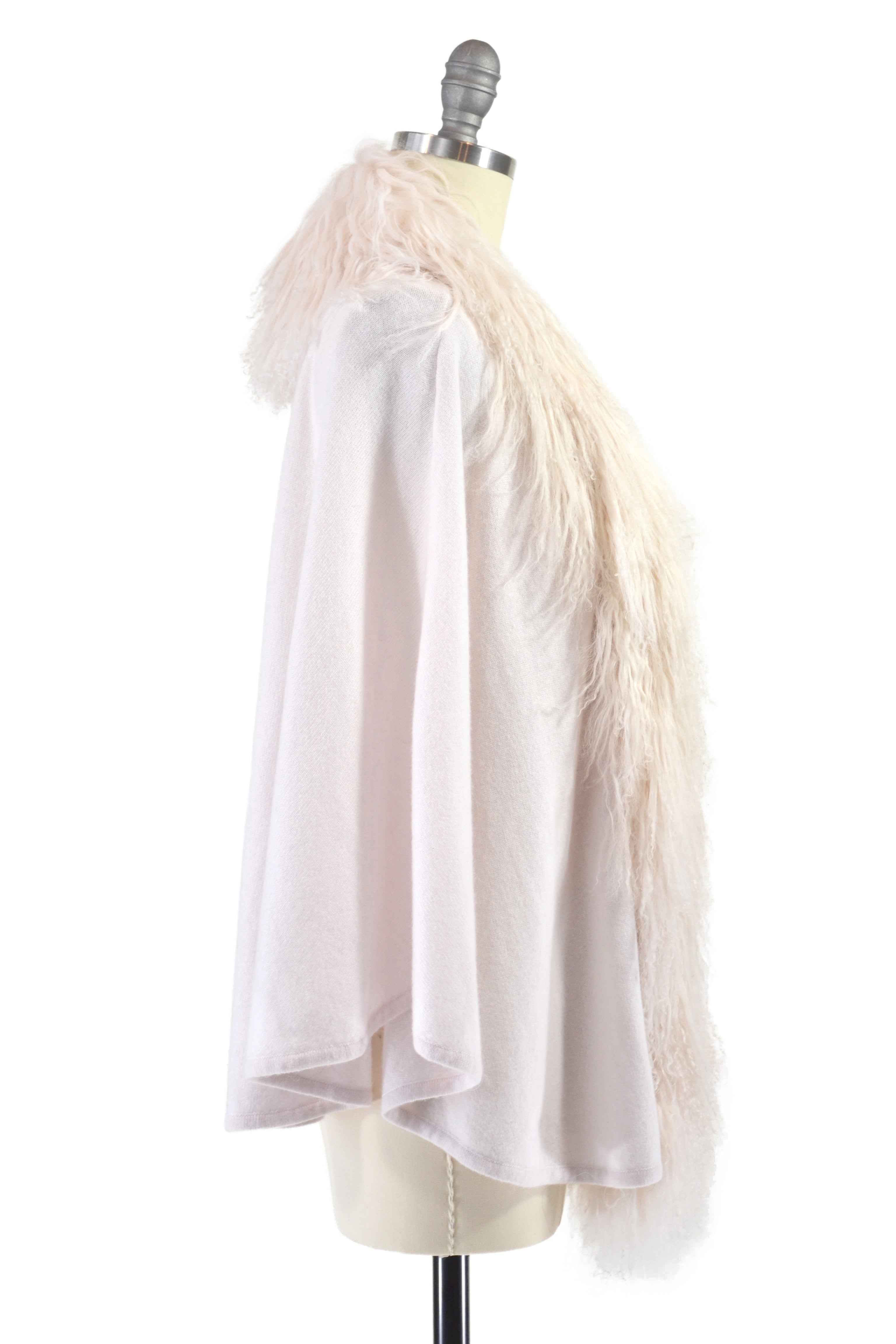 Cashmere Cape with Front Tibetan Sheep Fur in Shell