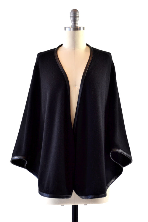 Cashmere Cape with Full Leather Trim in Black