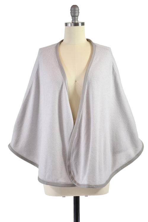 Cashmere Cape with Full Leather Trim in Dove Gray