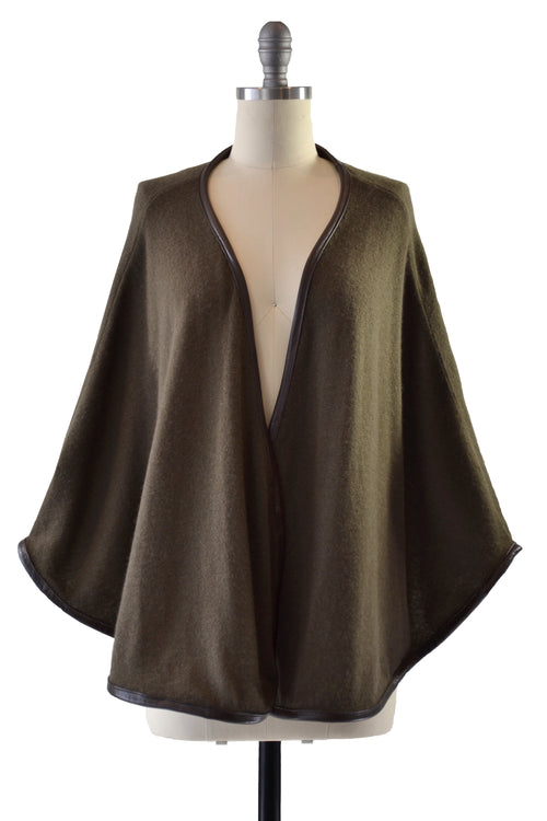 Cashmere Cape with Full Leather Trim in Hunter Green