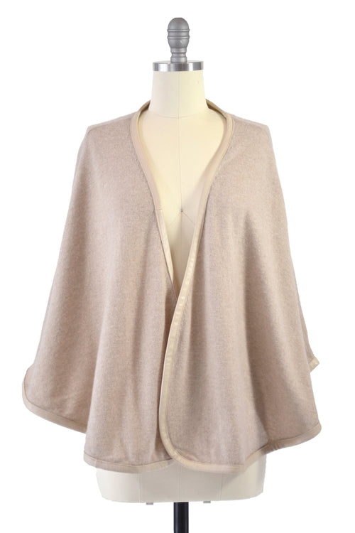 Cashmere Cape with Full Leather Trim in Safari