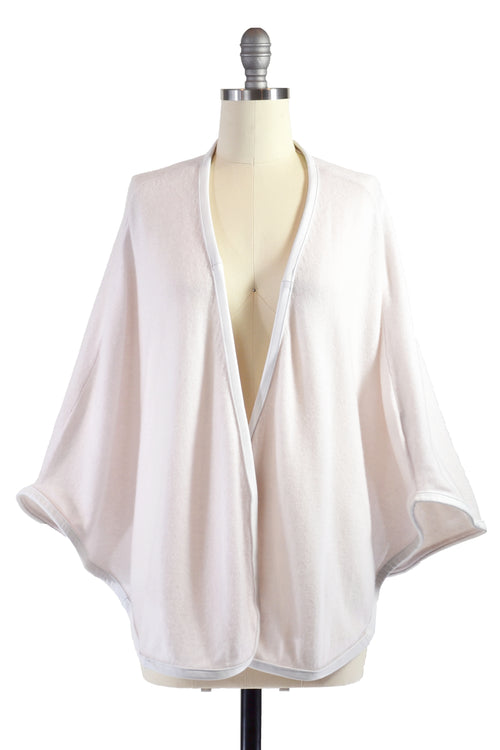 Cashmere Cape with Full Leather Trim in Shell