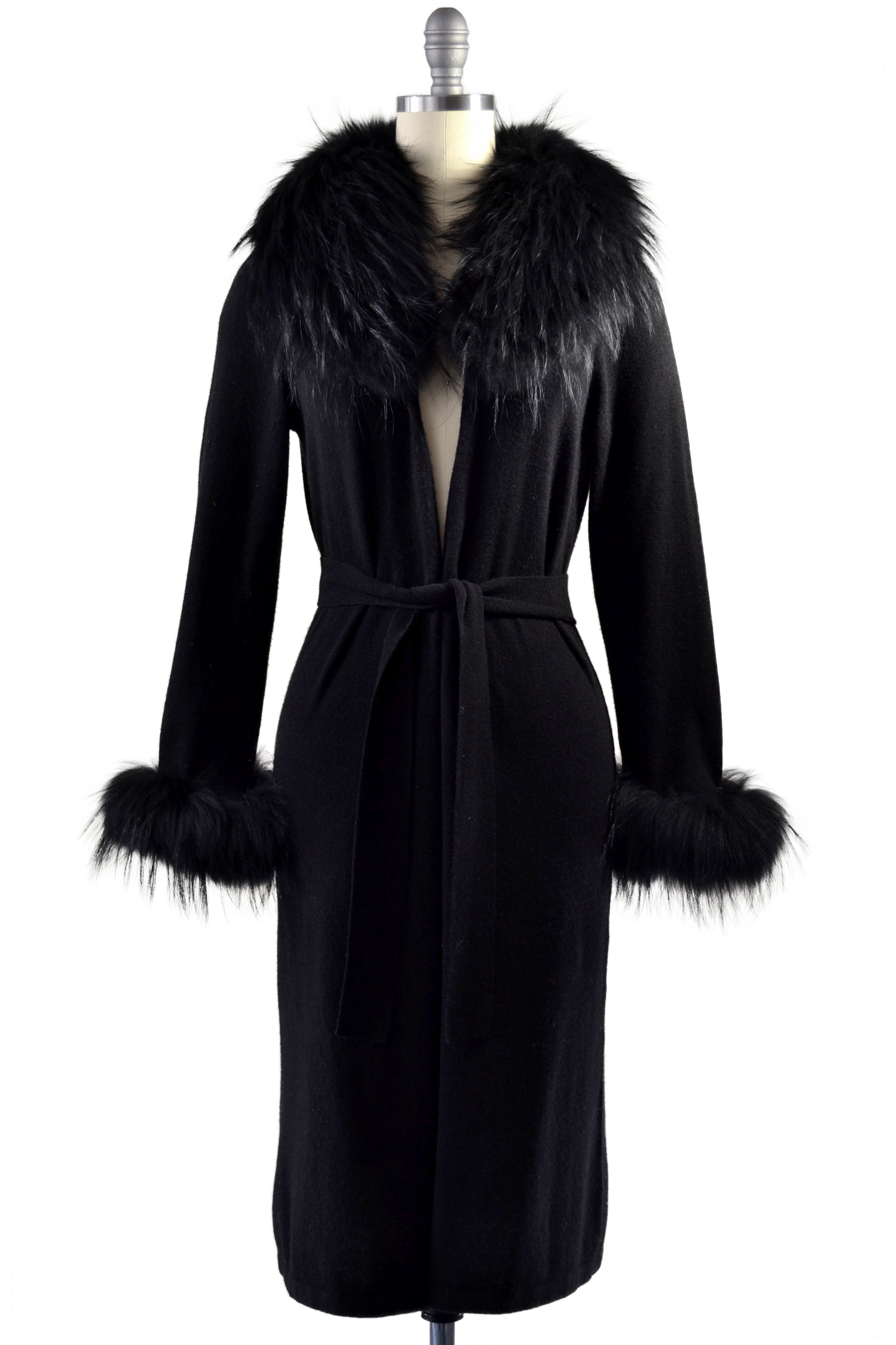 Cashmere Duster with Raccoon Fur Trim in Black