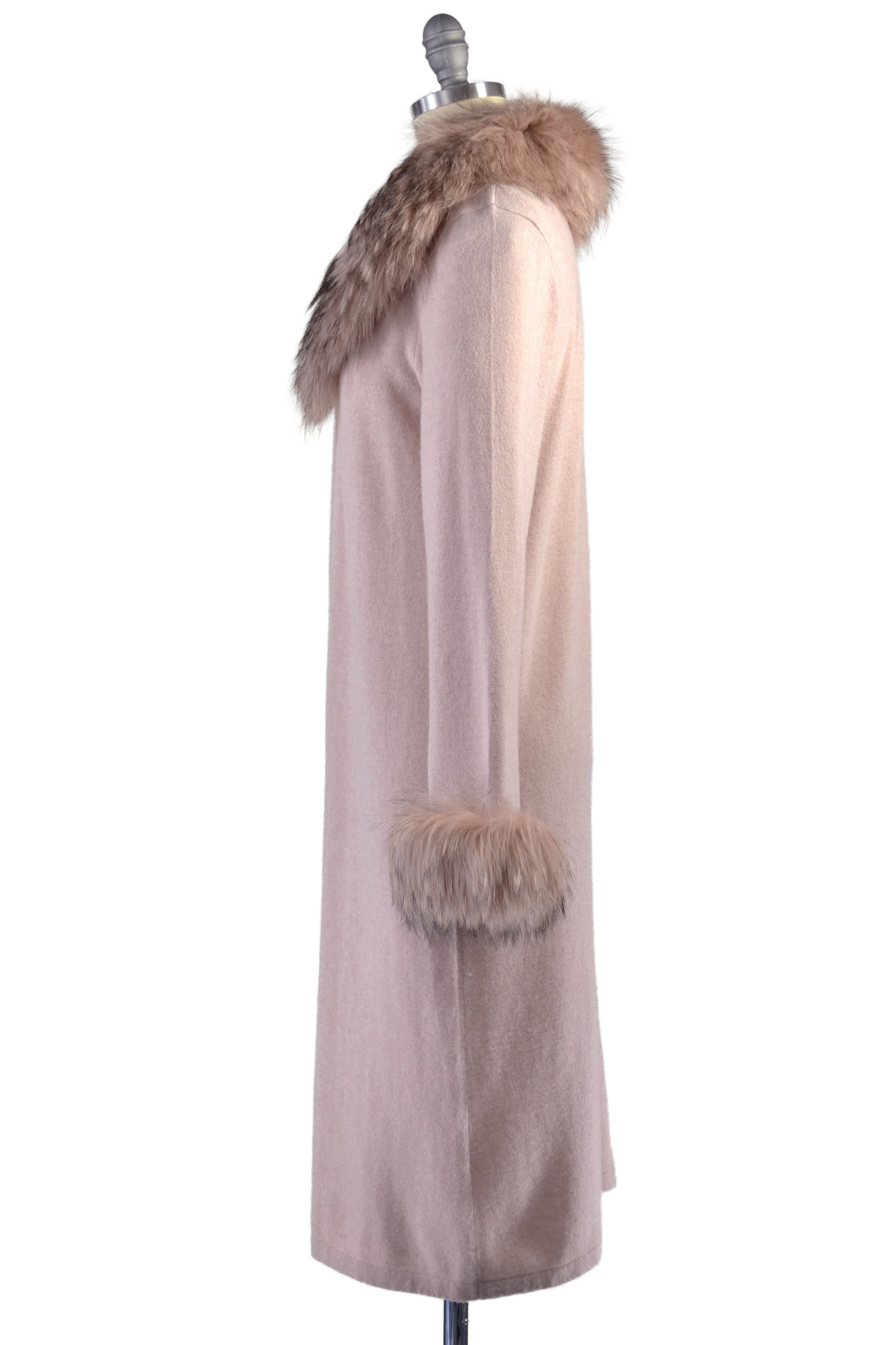 Cashmere Duster with Raccoon Fur Trim in Blush