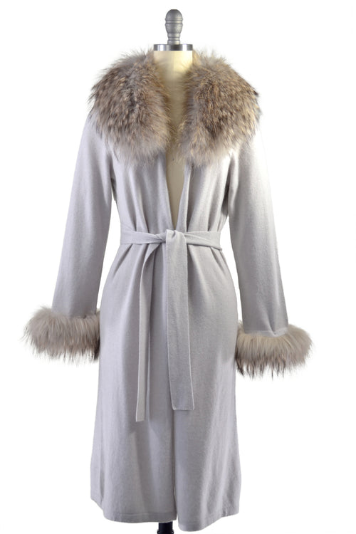 Cashmere Duster with Raccoon Fur Trim in Dove Gray