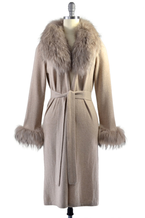 Cashmere Duster with Raccoon Fur Trim in Safari