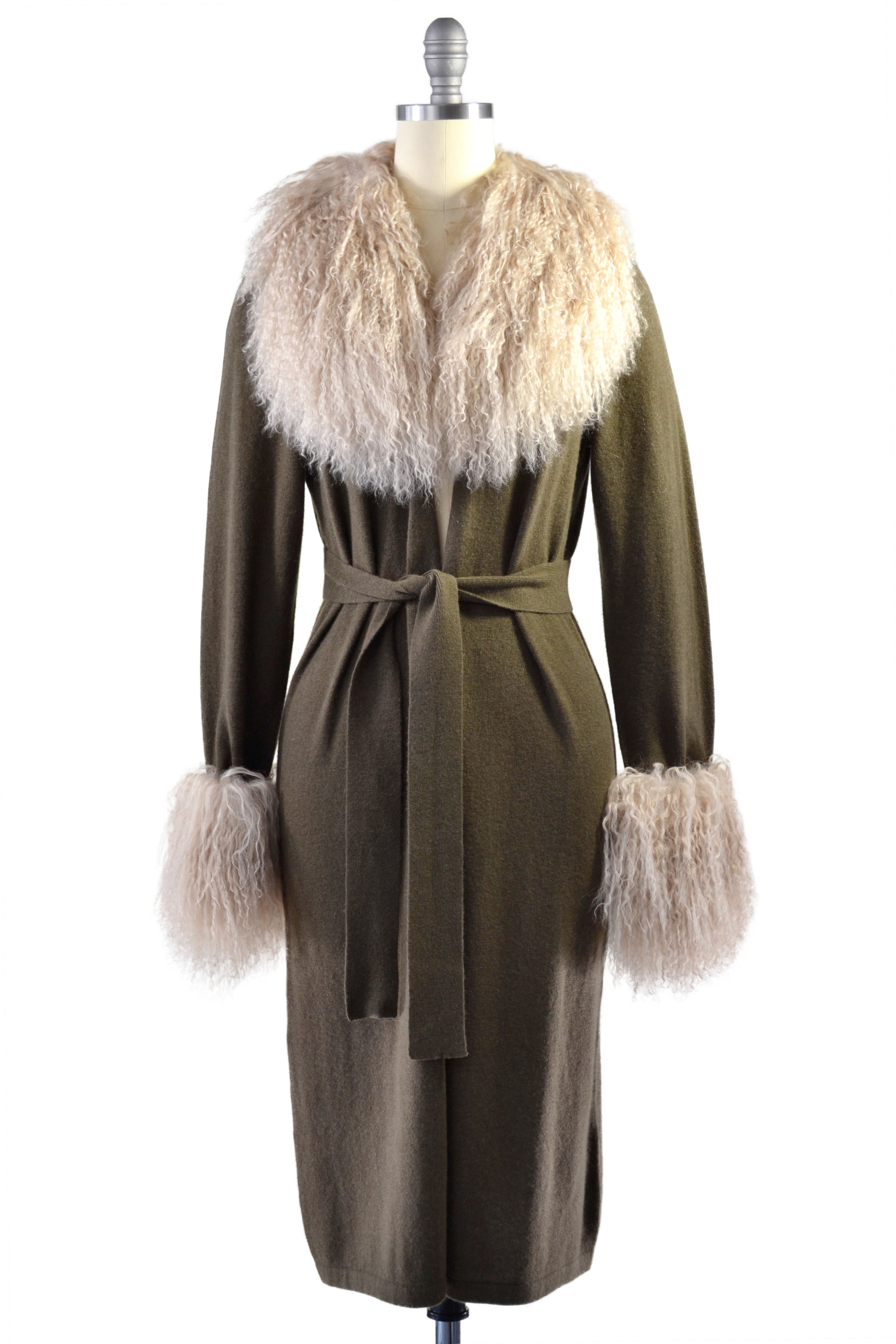 Cashmere Duster with Tibetan Sheep Fur Trim in Hunter Green