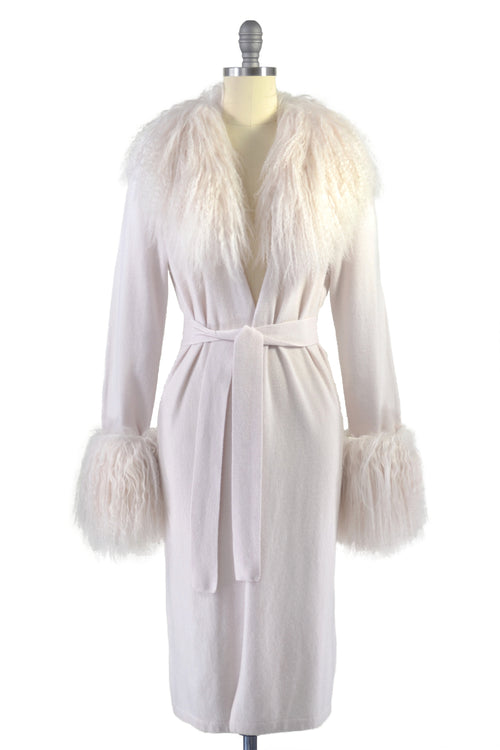 Cashmere Duster with Tibetan Sheep Fur Trim in Shell