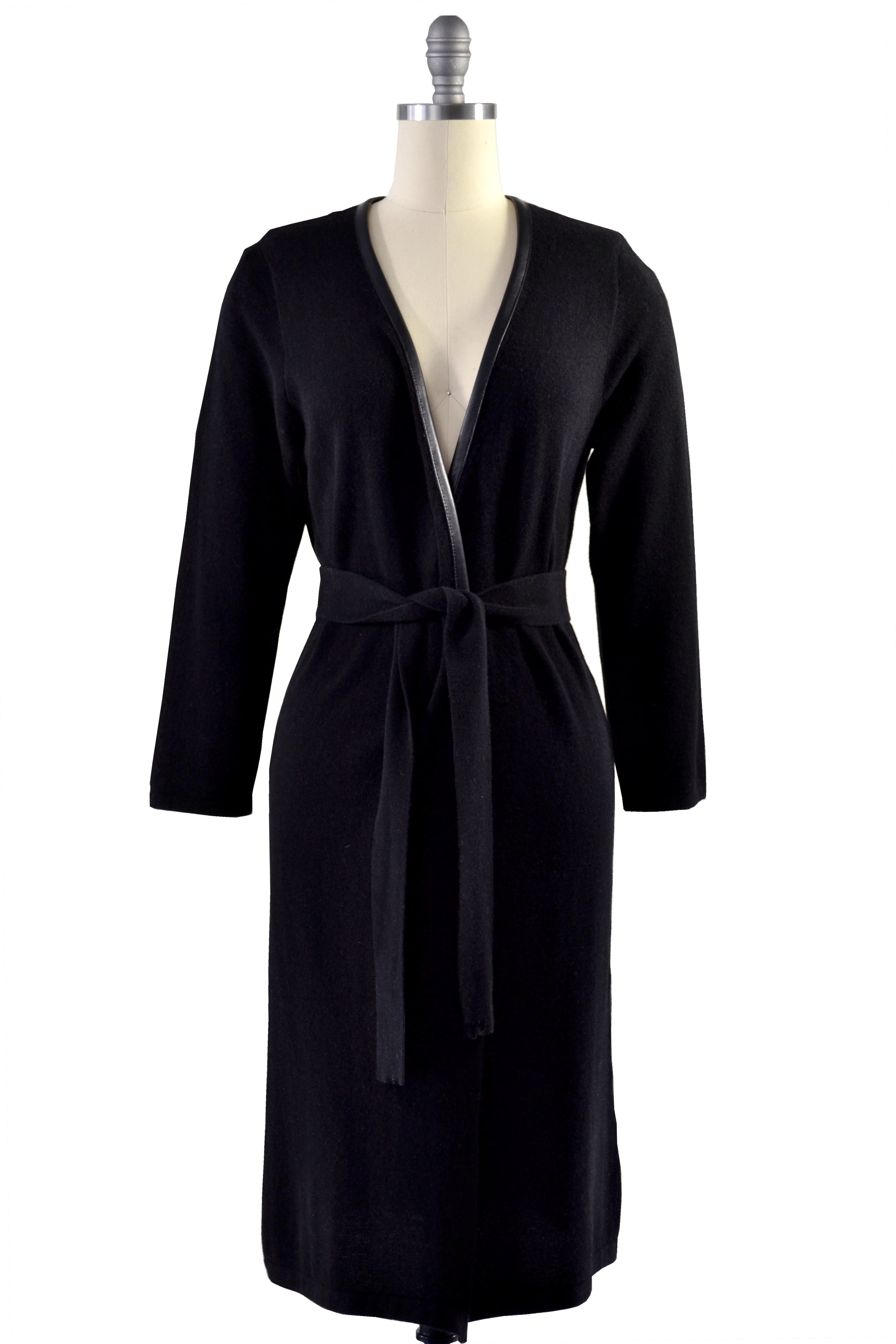 Cashmere Duster with Leather Trim in Black