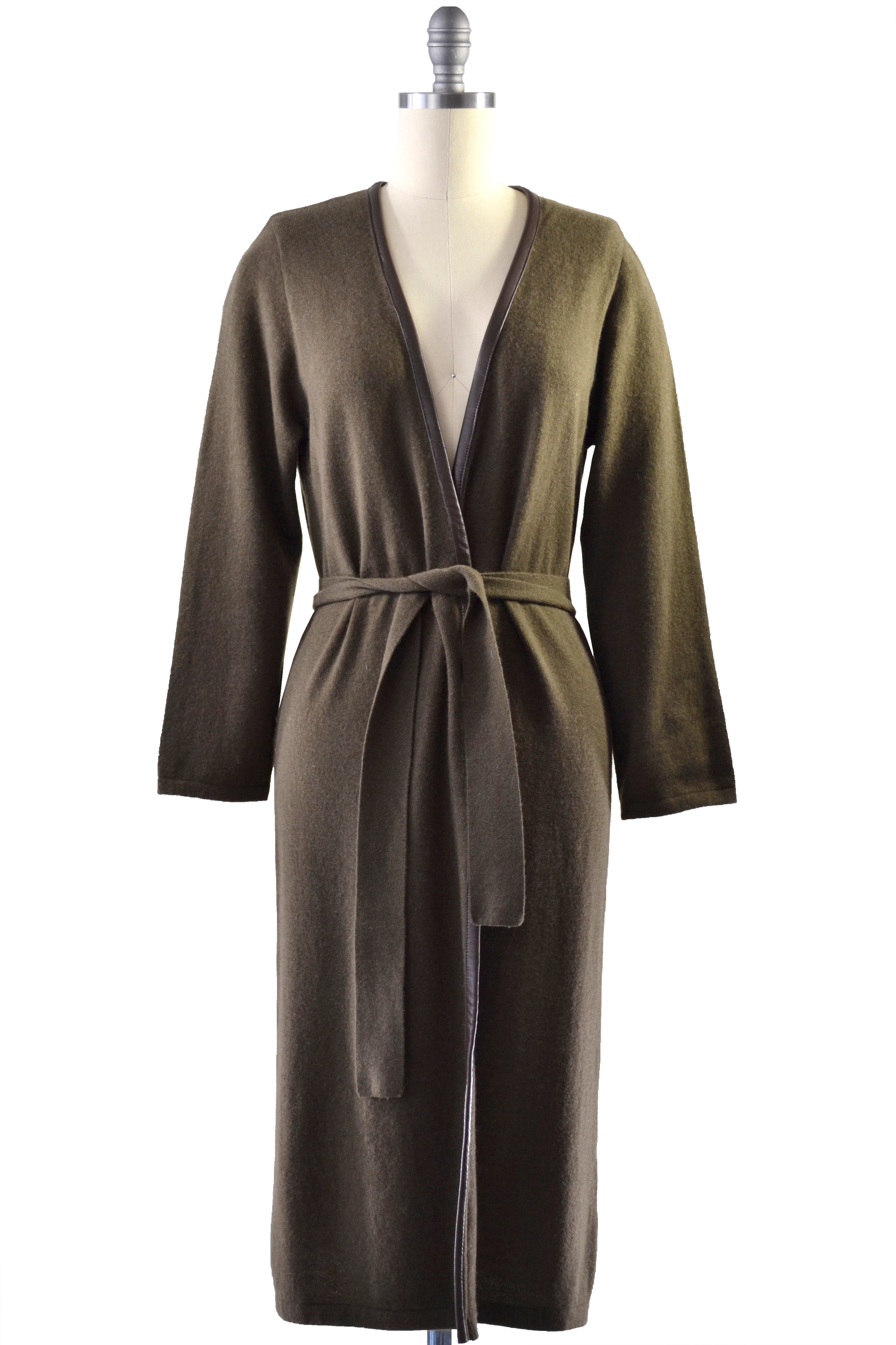 Cashmere Duster with Leather Trim in Hunter Green
