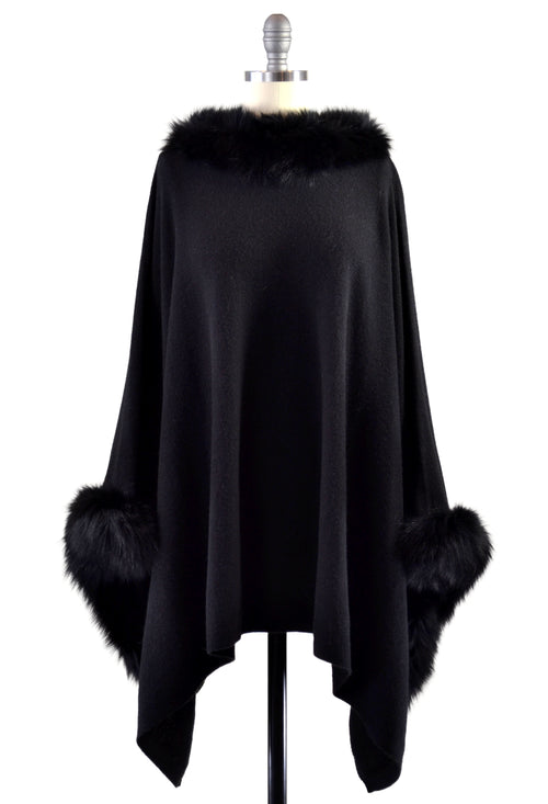 Cashmere Poncho with Full Fox Fur Trim in Black