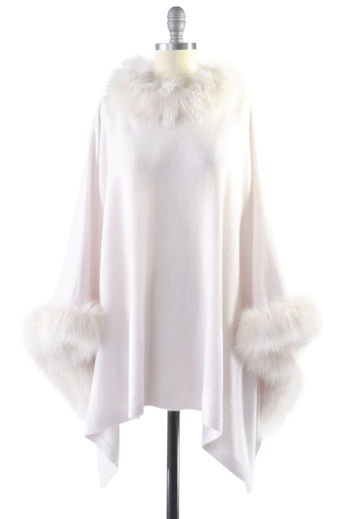 Cashmere Poncho with Full Fox Fur Trim in Shell