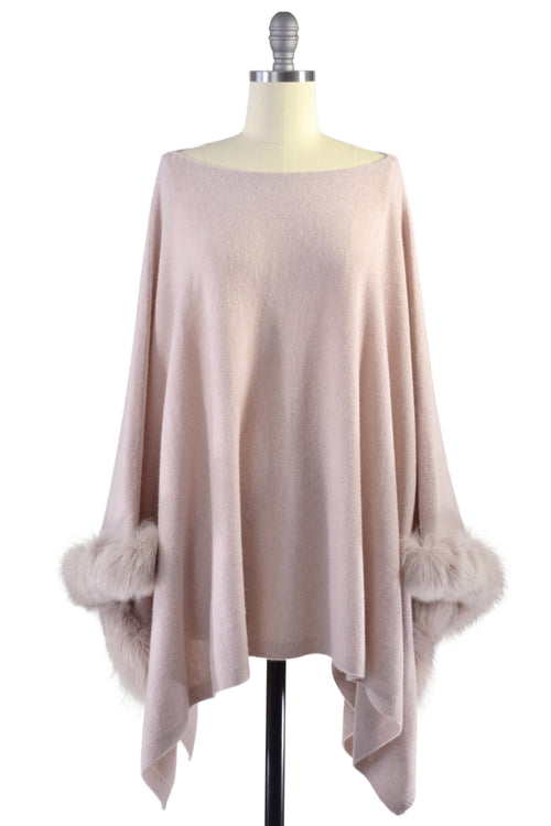 Cashmere Poncho with Fox Fur Trim on Cuff in Blush