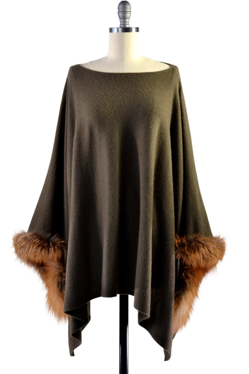 Cashmere Poncho with Fox Fur Trim on Cuff in Hunter Green