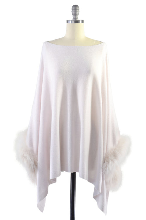 Cashmere Poncho with Fox Fur Trim on Cuff in Shell
