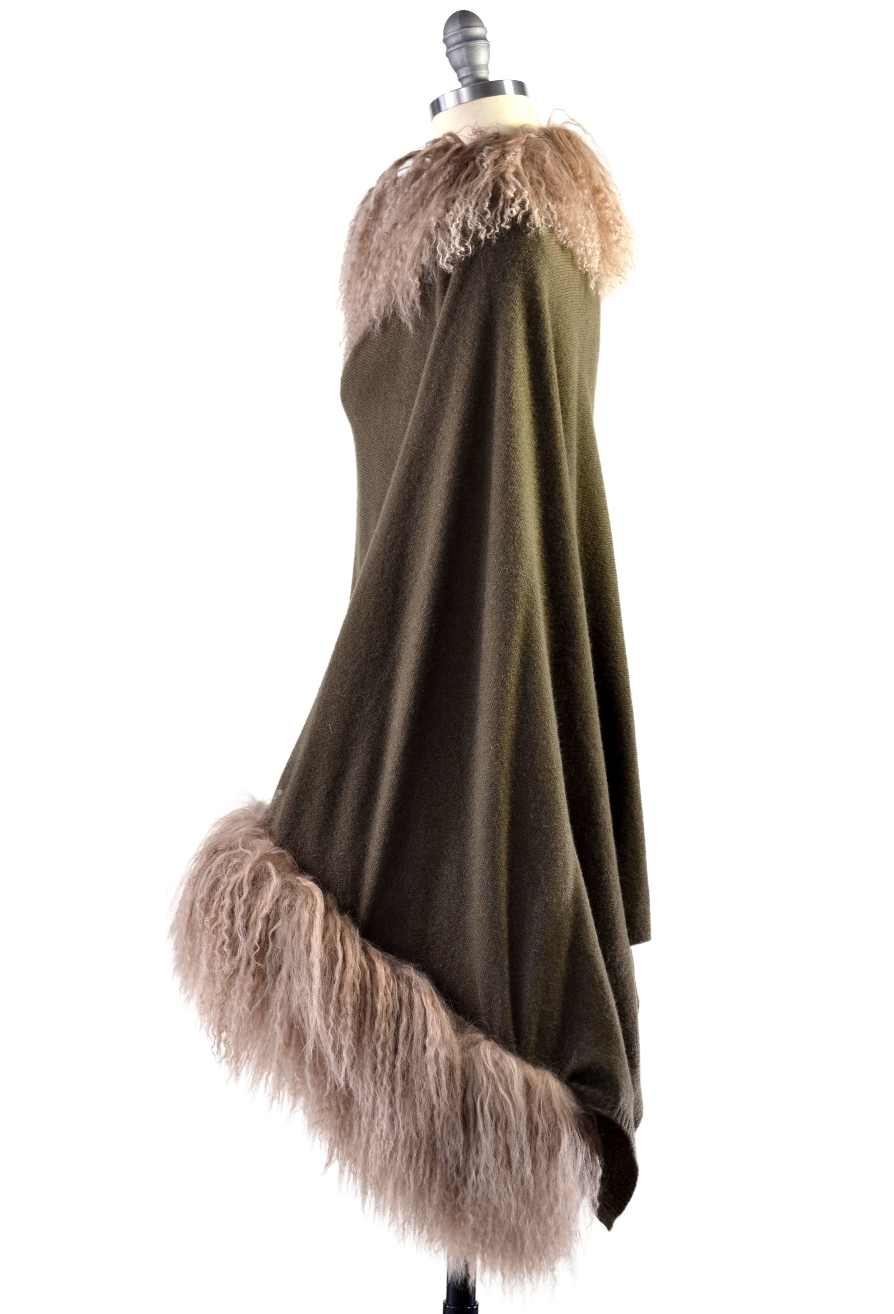 Cashmere Poncho with Full Tibetan Sheep Fur Trim in Hunter Green