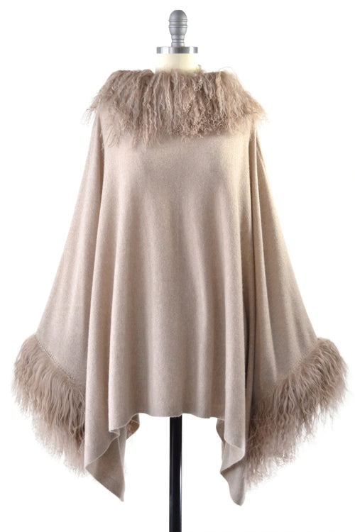 Cashmere Poncho with Full Tibetan Sheep Fur Trim in Safari