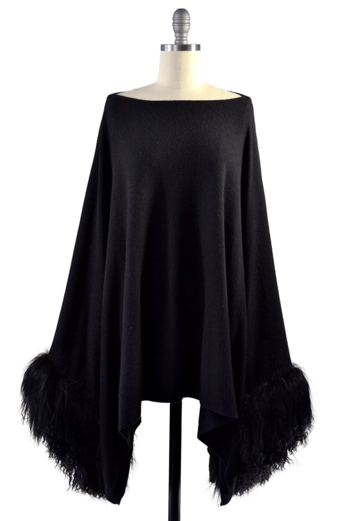 Cashmere Poncho with Tibetan Sheep Fur on Cuff in Black