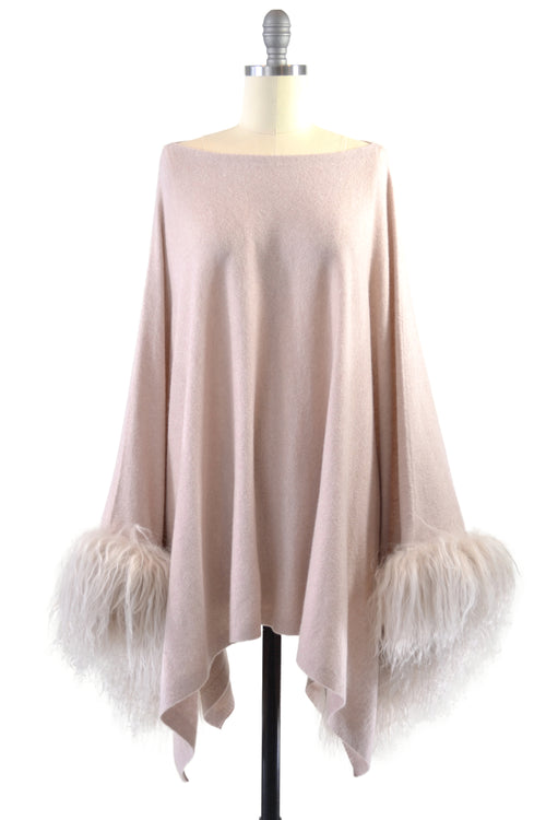 Cashmere Poncho with Tibetan Sheep Fur Trim on Cuff in Blush