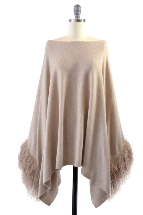 Cashmere Poncho with Tibetan Sheep Fur Trim on Cuff in Safari