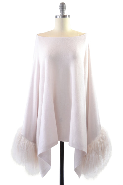 Cashmere Poncho with Tibetan Sheep Fur Trim on Cuff in Shell