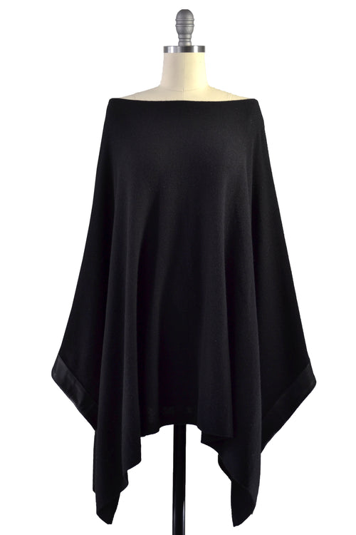 Cashmere Poncho with Leather Trim in Black