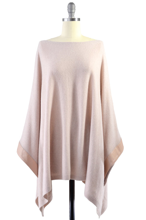 Cashmere Poncho with Leather Trim in Blush