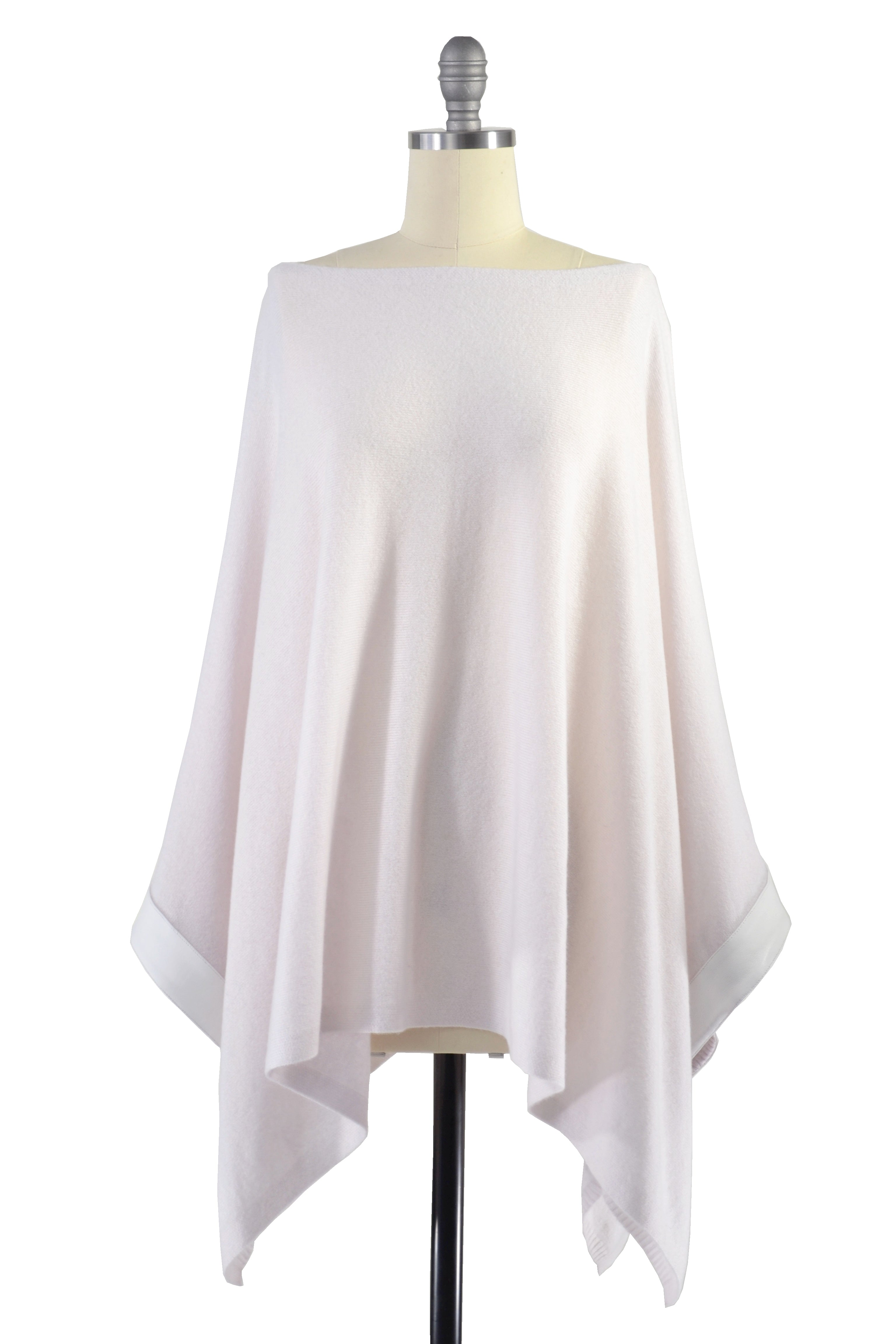Cashmere Poncho with Leather Trim in Shell