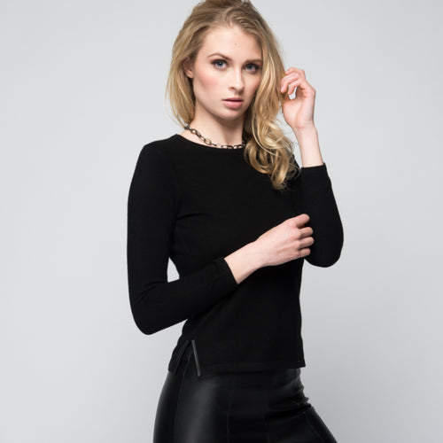 Cashmere Sweater with Leather Piping in Black