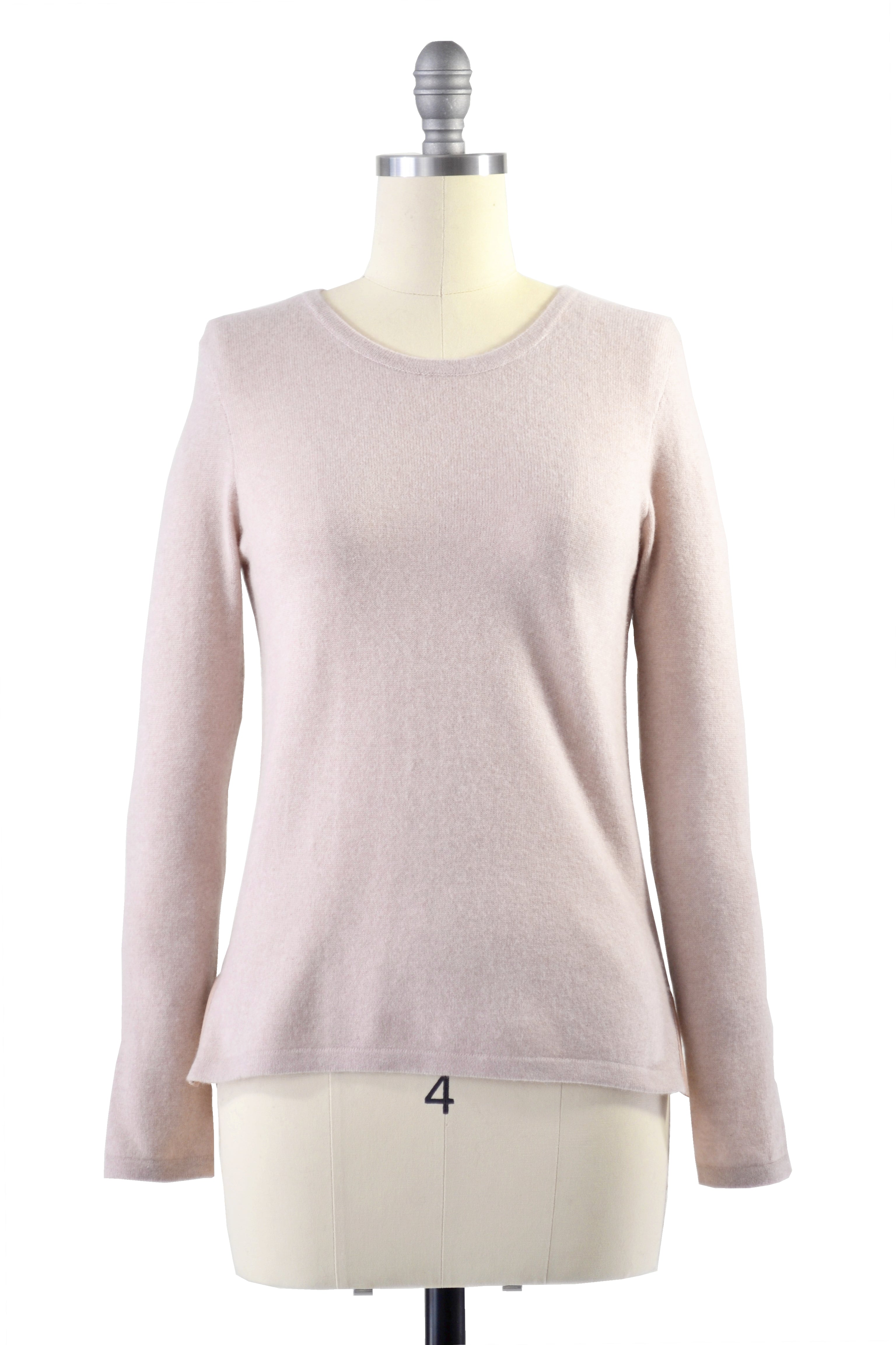 Cashmere Sweater with Leather Piping in Blush