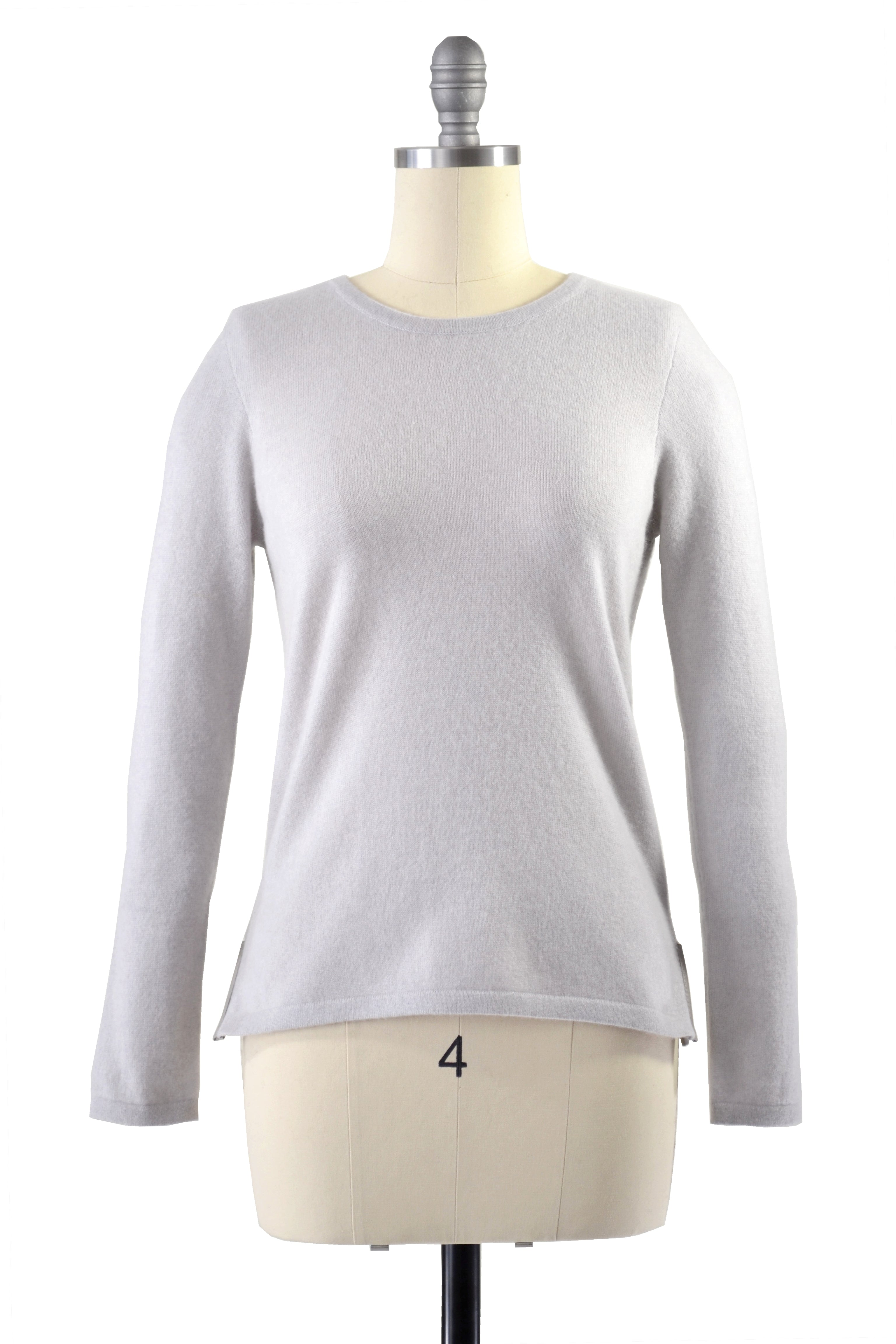 Cashmere Sweater with Leather Piping in Dove Gray