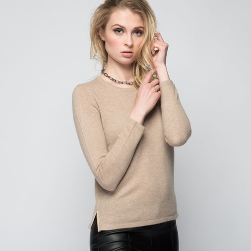 Cashmere Sweater with Leather Piping in Safari