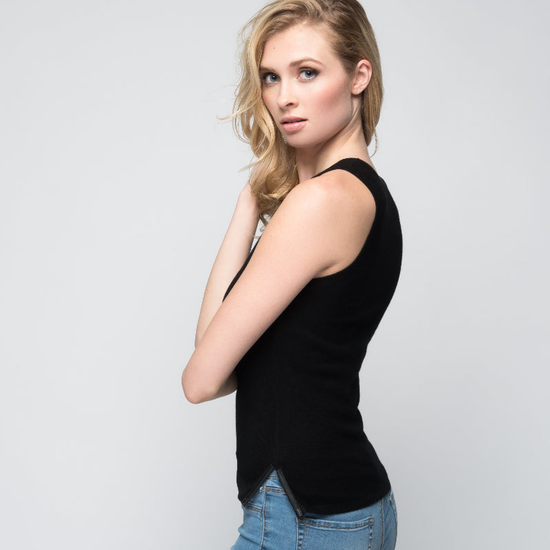 Cashmere Tank Top with Leather Piping in Black