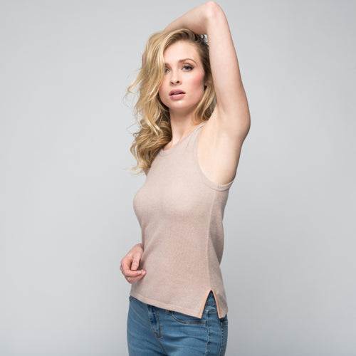 Cashmere Tank Top with Leather Piping in Blush