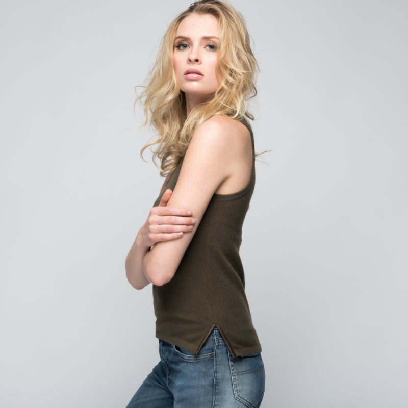 Cashmere Tank Top with Leather Piping in Hunter Green