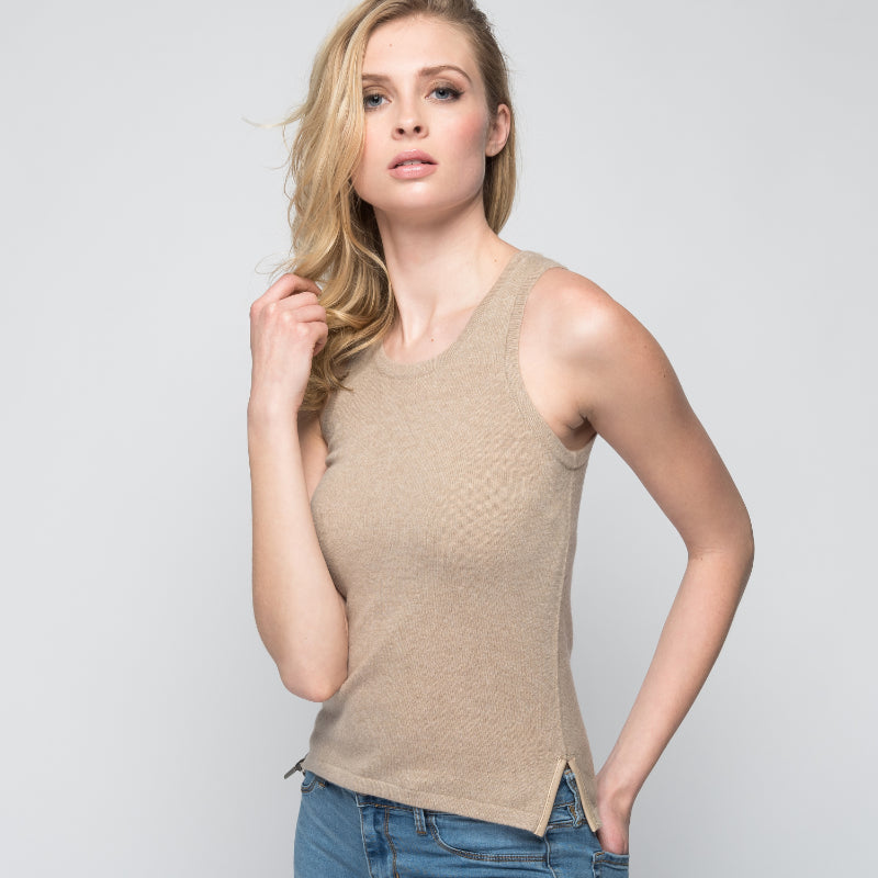 Cashmere Tank Top with Leather Piping in Safari