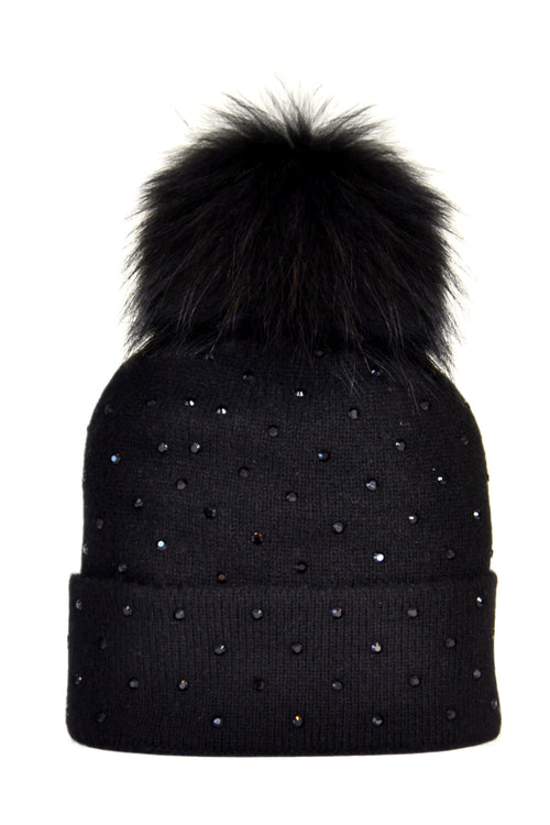 Black Cashmere Beanie with Scattered Crystals & Black Pom
