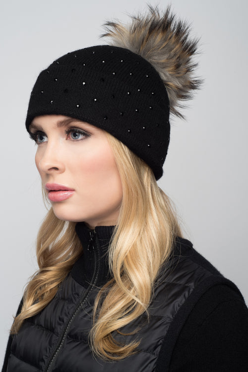 Black Cashmere Beanie with Scattered Crystals & Dove Gray Pom