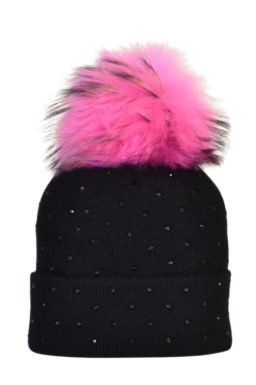 Black Cashmere Beanie with Scattered Crystals & Hot Pink Pom