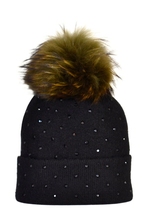 Black Cashmere Beanie with Scattered Crystals & Khaki Pom