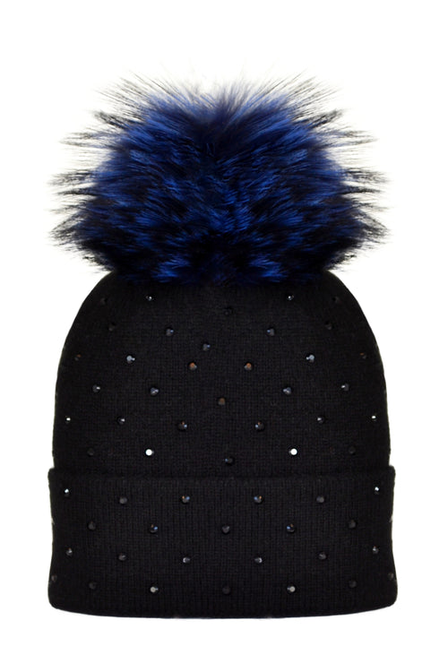 Black Cashmere Beanie with Scattered Crystals & Midnight Blue Pom