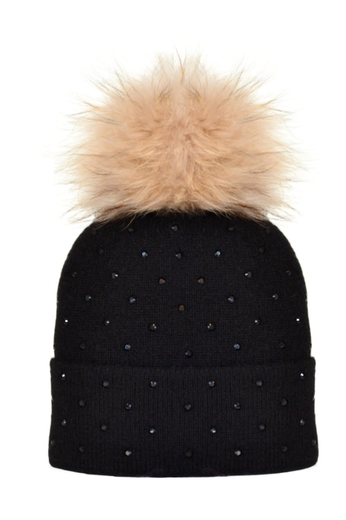 Black Cashmere Beanie with Scattered Crystals & Oatmeal Pom