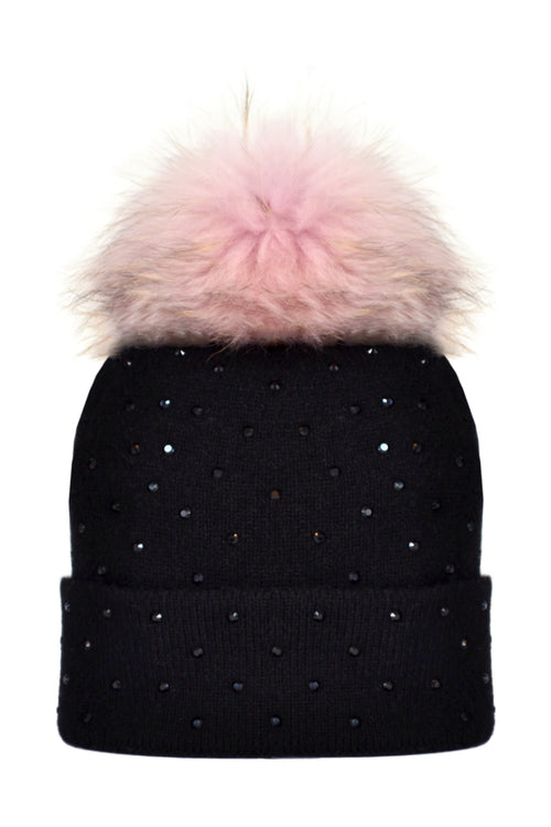 Black Cashmere Beanie with Scattered Crystals & Pale Pink Pom