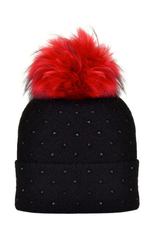 Black Cashmere Beanie with Scattered Crystals & Red Pom